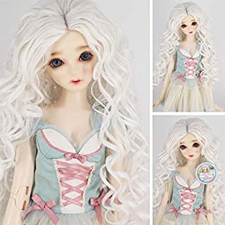 1/6 BJD with 6-7 Inch High Temperature Synthetic Fiber Long White Ombre Kinky Curly Hair Wig BJD Doll Wigs for 1/3 1/4 1/6 BJD SD Doll(1001#)