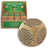 1.5' Original Wooden PRAYER CUBE with SIX Prayers, Includes The Lord's Prayer, Serenity & 4 More - Religious EDUCATION Inspirational GIFT - COMMUNION Confirmation BOXED DICE