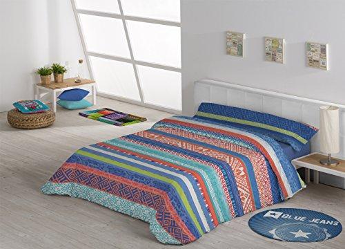 DHestia Parure de lit 3 pièces avec Housse de Couette et Drap-Housse élastique réglable, modèle Grandana, Bleu, 180 x 240 cm, lit de 105 cm