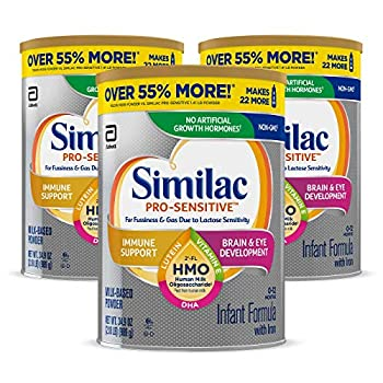 Similac Pro-Sensitive Infant Formula  Non-GMO with Iron 2'-FL HMO for Immune Support Milk-Based Powder 2.18 Lb Pack of 3  One-Month Supply