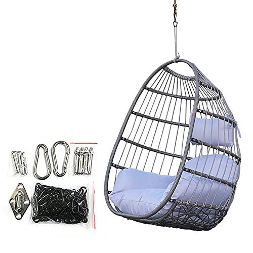 HUHAA Silla giratoria de Huevos de ratán a Prueba de óxido Gris Tejida a Mano, cojín de Lujo Gris Grande, Forma Ovalada, jardín al Aire Libre, Patio, Colgante de Interior