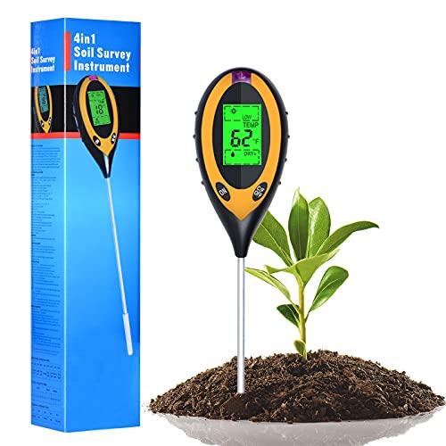 ZIRXISN Soil Moisture Meter, 4-in-1 Digital LCD Soil pH Meter, with Moisture, pH, Light, Temperature Soil Tester for Home, Garden, Farm, Lawn, Indoor & Outdoor Soil Test Kit (Only for Soil)