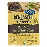 riso scotti - benessere a tavola riso integrale nero, farro e semi di zucca - pronto in 2 minuti - 250 gr