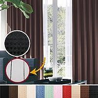 窓美人 完全遮光 特殊コーティングカーテン &UV・遮像レースカーテン 各2枚 幅100×丈200(198)cm ドット柄 ブラック+ピュアブラック 断熱 遮熱 防音 形状記憶付 紫外線カット