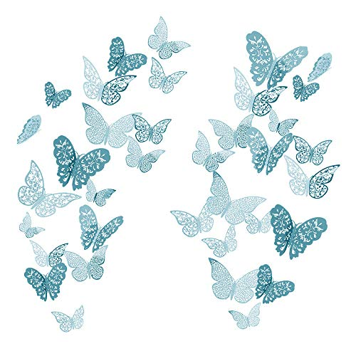 YUE QIN 36 PCS Pegatina de Pared 3D Mural de Arte Artesania Bricolaje Pegatinas Decoracion de Mariposa Calcomanías para el Hogar Murales de Papel Decorativo (Azul)