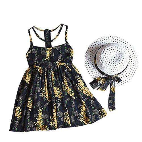 Robe de Filles Été Amlaiworld 2PCS Enfants Bébé Fille Mousseline de Soie Robe de Gilet à Fleurs + Soleil Chapeau Outfit Vêtements pour 2-7Ans Fille (11/4-5Ans, Noir)