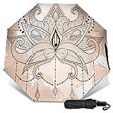 Flor Vector Novedad Manual Vinilo Paraguas Triple Protector Solar Protección UV Paraguas a Prueba de Viento Paraguas de Viaje
