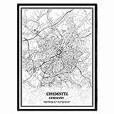 Chemnitz Deutschland Karte Wandkunst Leinwand drucken