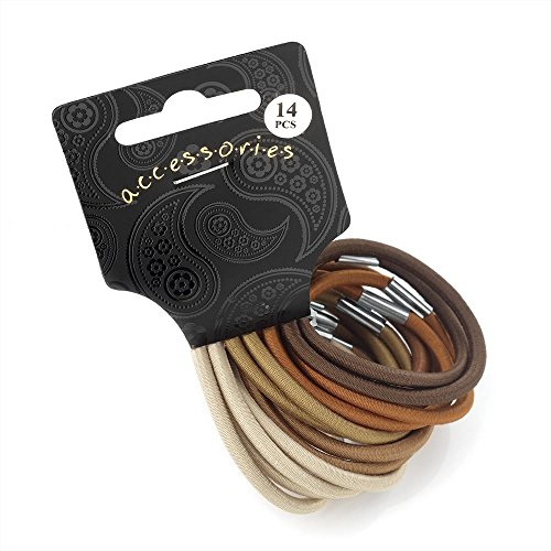 Set of 14 Brown Thick Hair Elastic Bands Pony Tail Bobbles School Uniform