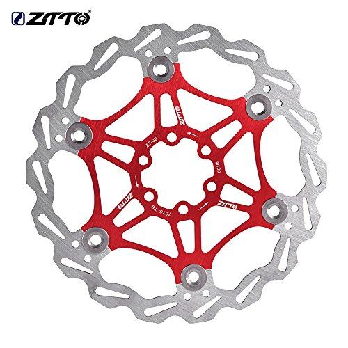 Rotor de Freno de Disco Flotante Bicicleta de Ciclismo180 mm 6 Pernos MTB Bicicleta de Carretera de Montaña Rotores Traseros Pernos Pastillas de Freno Accesorio de Ciclismo Rojo, Negro(Rojo)