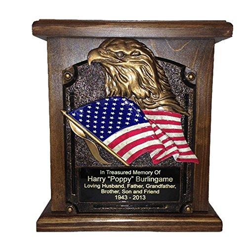 American Flag and Eagle Cremation Urn, Wood Funeral Urns with Engraving