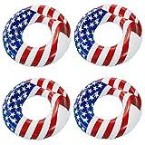 Swimline 36' Inflatable American Flag Swimming Pool and Lake Tube Float (4 Pack)