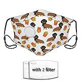 N/W Mascarilla para perros calientes y patatas fritas con una válvula para la cara, con impresión 3D, ajustable, reutilizable, lavable, unisex para exteriores