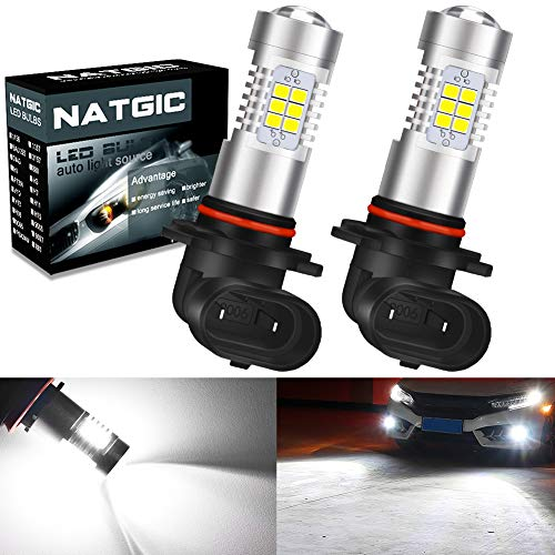 NATGIC 9006 HB4 Bombillas de luz antiniebla LED Xenon White 2835 SMD Chipsets con proyector de lente para luces de circulación diurna de luz antiniebla, 10-16 V 10.5 W (paquete de 2)