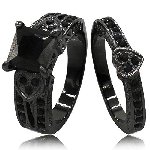 Black Rhodium Plated Princess Cut Heart Shape Wedding Engagement Bridal Ring Set (Black, 8)