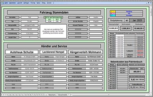 Speditionssoftware Software zur übersichtlichen LKW Fahrzeugverwaltung Fuhrparkverwaltung KFZ Fuhrparkmanagement für Transportgewerbe Speditionen inkl. Budgetplaner