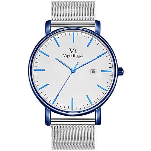 Vigor Rigger Damenuhr Ultradünne Quarzwerk Herrenuhren Weißes-dial mit Datumsanzeige Blauer Kasten Silber Edelstahlgewebe