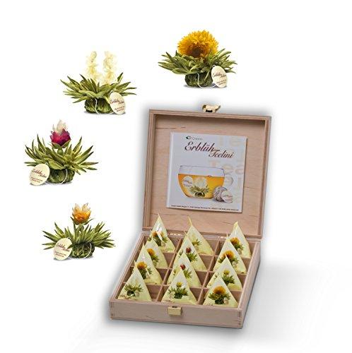 Creano Teelini Teeblumen im Tassenformat, Geschenkset in Teekiste aus Holz, 12 ErblühTeelini in 4 Sorten, Weißer Tee, Geschenk zum Muttertag
