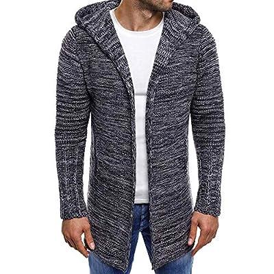 OMINA Mens Long Cardigan Sweaters Lightweight Hoodie Autumn Winter Warm Fashion Casual Slim Fit Trench Coat Dark Gray