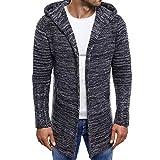 Men Splicing Hooded Solid Trench Coat Jacket Cardigan Long Sleeve Outwear Tops Dark Gray