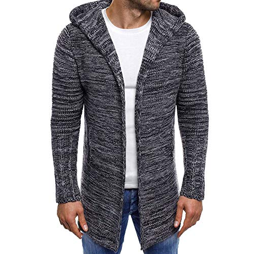 Landscap Men's Knit Hooded Jacket Solid/Patchwork Shawl Collar Coat Fitness Work Out Cardigan Long Sleeve Hoodie Sweater(Dark Gray,L)