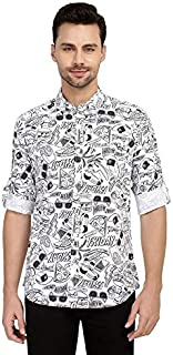 Nick&Jess Mens White Printed Cotton Shirt