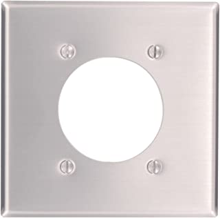 Leviton 83026 2-Gang Flush Mount 2.15-Inch Diameter, Device Receptacle Wallplate, Standard Size, Device Mount, Aluminum