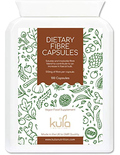 Kula Nutrition - High Fibre Supplement - 100 Capsules - Soluble and Insoluble Dietary Fibre Capsules Now with Added Psyllium Husk, Flaxseed and Sugar Beet Fibre which Supports Daily Bowel Movements.