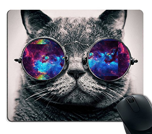 Smooffly Gaming Mouse Pad Custom,Galaxy Hipster Cat Wear Color Sunglasses Mouse pad 9.5 X 7.9 Inch (240mmX200mmX3mm)