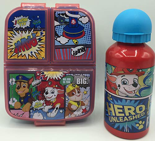CM Set Botella de Agua de Aluminio Infantil y Fiambrera con 3 Compartimentos para Colocar los almuerzos - para niñas, cantimplora a Prueba de Fugas sin BPA 400ml (Azul-PATR)