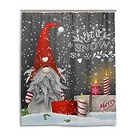かわいいクリスマスノームスノーフレークシャワーカーテン 60×72インチ 防水 ポリエステル クリスマスキャンドル ギフトボックスシャワーカーテンセット フック付き バスルーム装飾