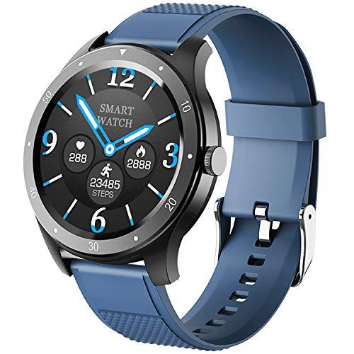 Smart Watch, Fitness Tracker Uhr IP67 Wasserdicht Activity Tracker Herzfrequenz Monitor/Sphygmomanometer Schrittzähler Damen Herren Schlafmonitor IOS/Android (Blau)