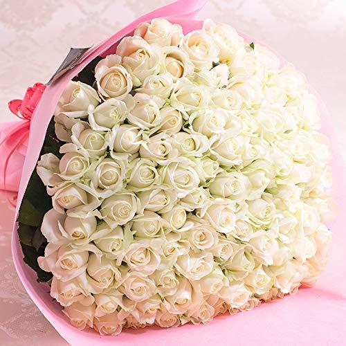 バラギフト専門店のマミーローズ 選べるバラ本数セレクト 還暦祝い 誕生日 プロポーズ 贈り物の豪華なバラの花束(生花) 白 99本
