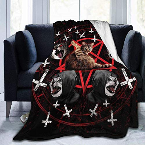 N / A Franela Manta De Microfibra,Felpa Manta,Manta para Cama Sofa,Manta Fina,Suave Manta Fina,Satanic Cat Pentagram Death Black Metal Micro Fleece Flannel M