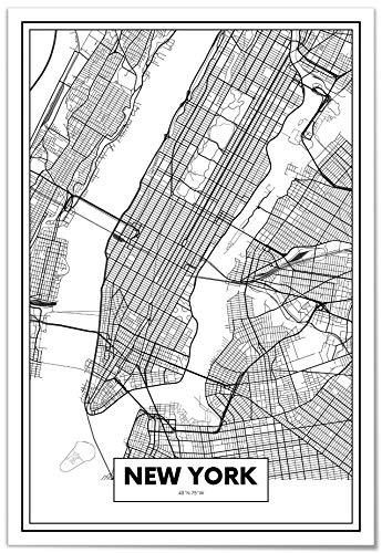 Panorama Poster Karte von New York 35x50 cm - Gedruckt auf qualitativ hochwertigem Poster - Poster Wohnzimmer - Bilder Schlafzimmer - Dekoration für das Zuhause - Poster Vintage Stadt
