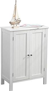 Armario de baño multiusos mueble de baño recibidor dormitorio salón mueble de suelo dos puertas de madera MDF 58 x 2...