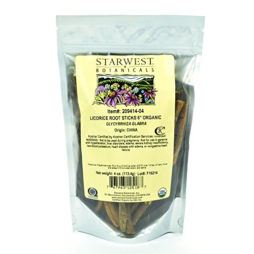 Starwest Botanicals Organic 6' Licorice Root Sticks, 4 Ounces