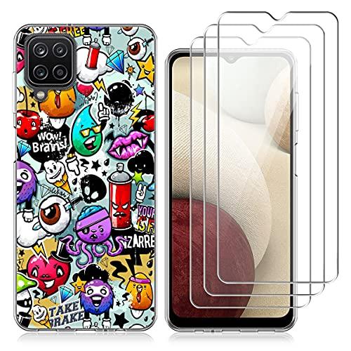 Reshias Funda para Samsung Galaxy A12 y 3 Pack Cristal Templado Protector...