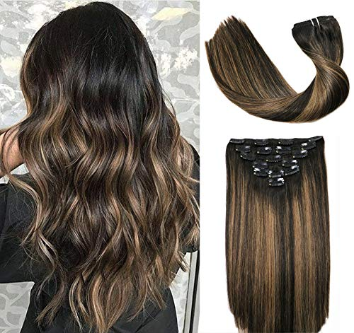 Clip In Human Hair Extensions Thicken Double Weft 9A Brazilian Hair 120g 7pcs Natural Black to Chestnut Brown Highlight Black Full Head Silky Straight 100% Human Hair Clip In Extensions 16 Inch