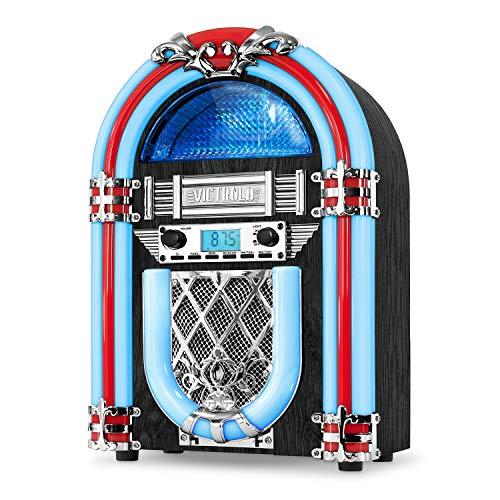Victrola Jukebox Nostalgic Wood Encimera Jukebox con Bluetooth incorporado Plata