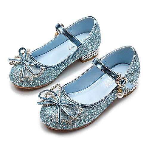 YOSICIL Zapatos de Princesa Frozen Zapatos de Tacón con Lentejuelas Zapatos de Fiesta Zapatos de Vestir Disfraz de Princesa para Boda Cumpleaños Navidad Carnaval EU24-34
