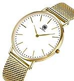 Fendior防水ステンレススチールメッシュブレスレット超薄型ケースメンズ腕時計 ゴールド