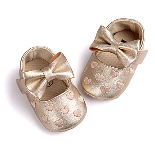 RVROVIC Baby Girls Shoes Soft Sole Mary Jane Flats Princess Dresses Shoes PU Cute Bow Crib Shoes Prewalker (6-12 Months Infant  Heart-Gold)