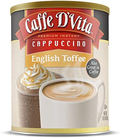 Caffe D Vita English Toffee Cappuccino Pack of 6 1 lb cans 16 oz product image