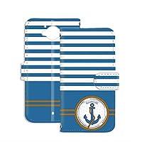 PU手帳型 ミラータイプ スマホケース AQUOS SERIE (SHV32) 用 マリン・ブルー アンカー セーラー ボーダー SHARP シャープ アクオス セリエ au スタンド スマホカバー 携帯カバー anchor 00l_154@02m