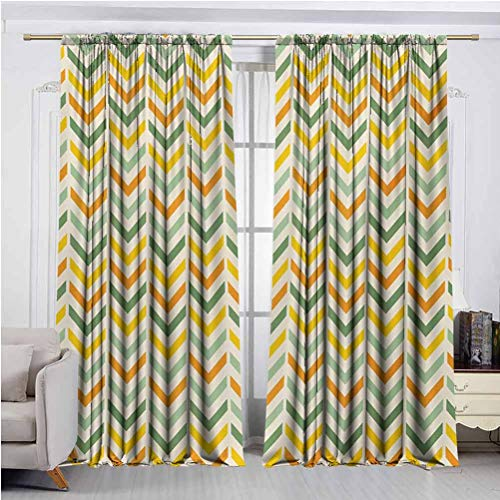 Chevron Blackout Curtains Retro Countryside Colors Zigzags in Vertical Direction Striped Composition Set of 2 Rod Pocket Curtain Panels Green Yellow Orange W48 x L96 Inch x2