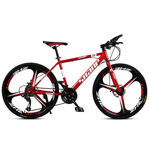 Bicicleta de montaña para adultos Bicicleta de montaña de MTB de velocidad variable Bicicleta de montaña de 26 pulgadas con freno de disco doble VTT ciudad de una rueda fuera de carretera,Red,24Speed