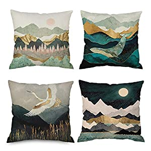 Japanese Throw Pillow Covers Set of 4 Abstract Inbetweening Oil Painting Massif Whale Grus Japonensis Peak Moon Sun Sea…