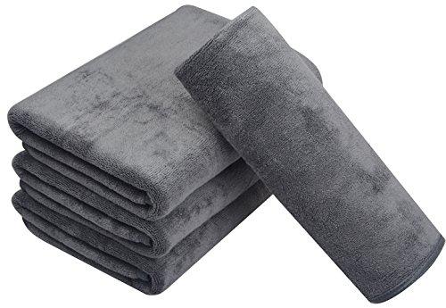 KinHwa Microfaser Handtücher 4er Set | Stark Wasserabsorbierendes Mikrofaser Handtuch, Mikrofaser Badetuch, Super Weich Duschtücher | 40cm x 76cm | Schnelltrocknend & Saugstark | Grau