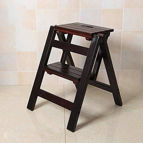 LJHA Tabouret pliable Repose-pieds en bois massif simple / escabeau pliant / chaussures changeantes tabouret échelle créative (4 couleurs disponibles) chaise patchwork ( Couleur : A-Black walnut color , taille : 47*39cm )